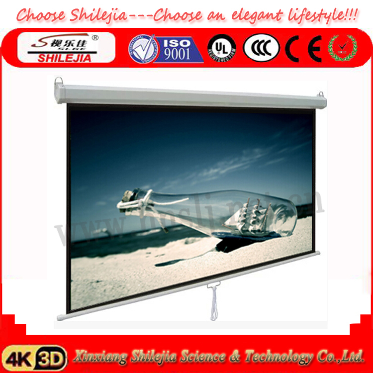 hot selling 3d pull down projector screen manual projector screen self lock projection screen. Black Bedroom Furniture Sets. Home Design Ideas