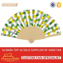 2017 cheap wood folding hand fans for ad