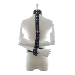 Bondage Leather Neck to Wrist Restraint Hands Against Back Body Harness