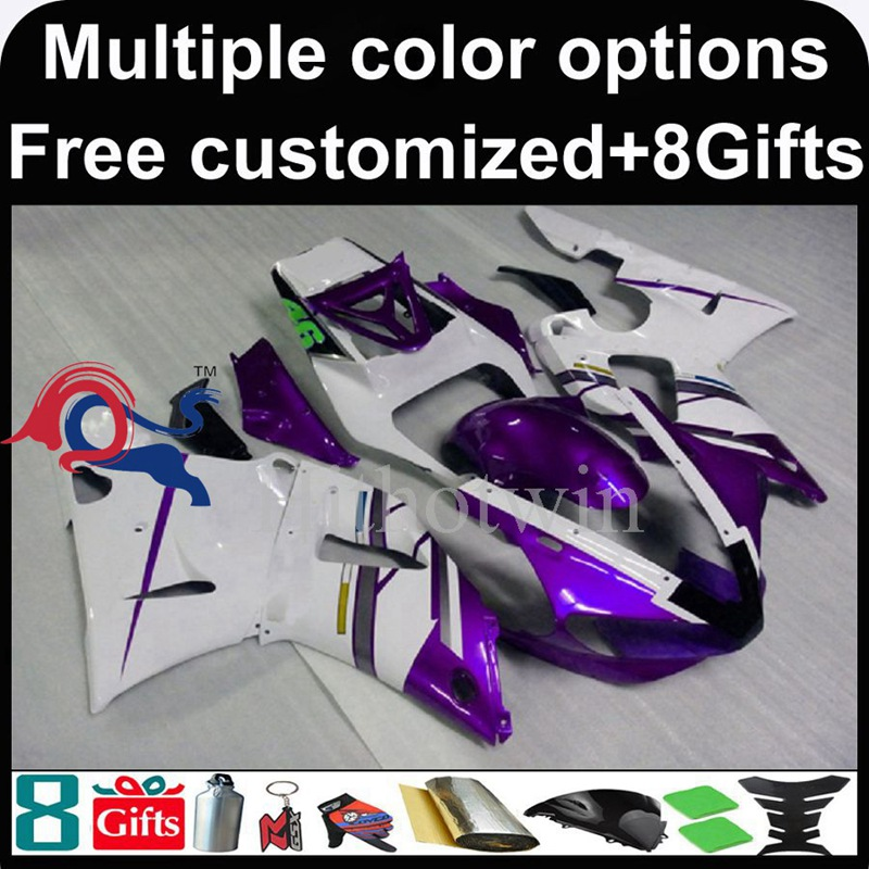 purple white motorcycle cowl for Yamaha YZFR1 2000-2001 00 <strong>01</strong> YZF <strong>R1</strong> 2000 2001 00-<strong>01</strong> ABS Plastic <strong>Fairing</strong>
