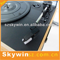 Factory Wholesale Wooden Turntable Metal Arm & Lift-lever Gramophone Cassette Player with USB Slot
