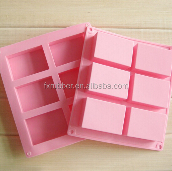 wholesale custom made 100ml each soapDIY 6 rectangle square silicone soap <strong>molds</strong>
