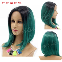 "wholesale cheap black to green two tones wig 10"" lace front ombre color wig for young lady"