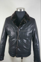 2015 Stylish Warm Men's Black Leather Jacket