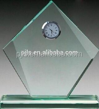 clock crystal trophy, clock crystal award, clock crystal plaque