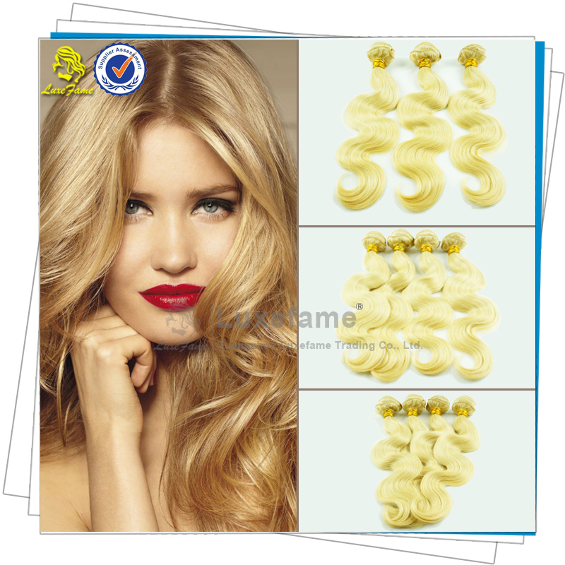 Luxefame Hair blonde European hair weft cheap remy human hair weaving color 613