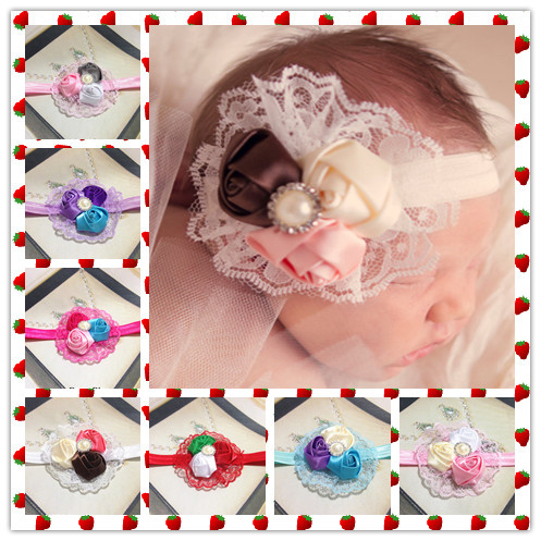 Hot Sale European Fashion Baby Flower Shape Baby Headbands, Infant Baby Head Flowers, Various color Hair Bands