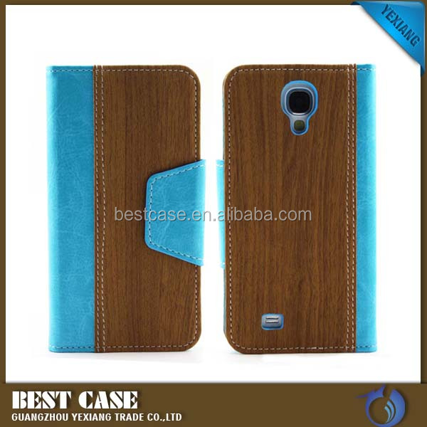 Wood pattern printing flip leather cover for samsung galaxy s4 phone case for i9500
