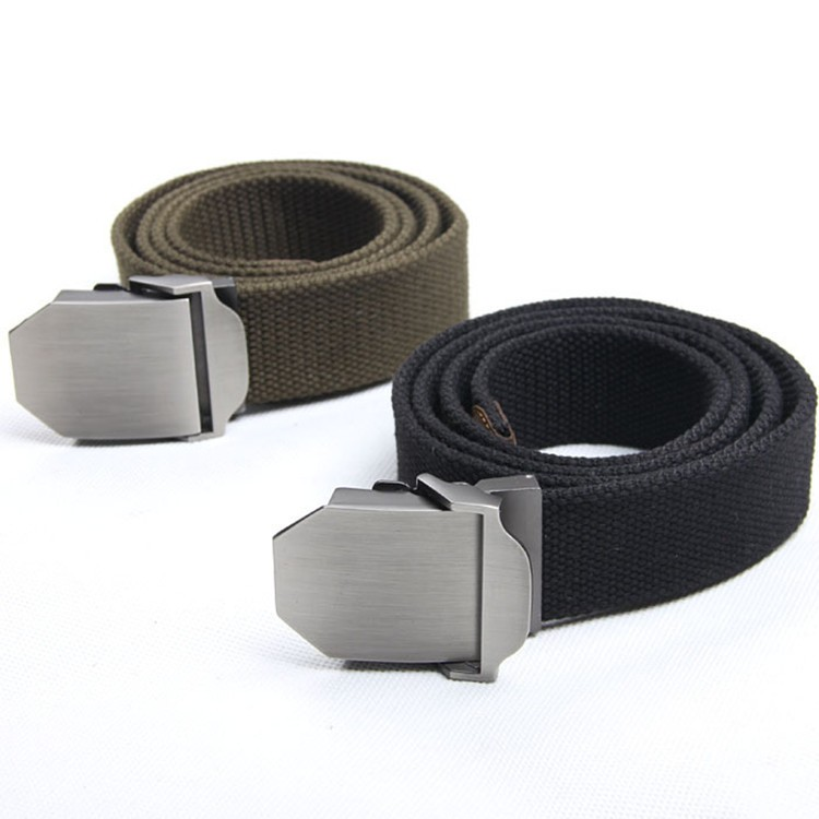 T3012 Flat Automatic Silver Buckle Sports Mens Canvas Belt Beige