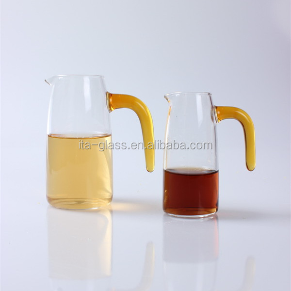 china supplier wholesale drinkware barware high quality hand made pyrex glass wine decanter with handle
