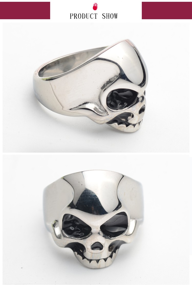 Cheap wholesale men stainless steel skull ring