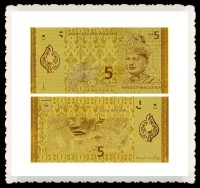 Exquisite Handicrafts Malaysia 5 Ringgit Pure 24k Gold Banknote For House Decoration And Business Gift
