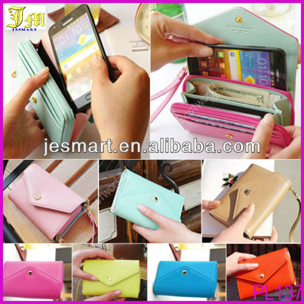 New Korean Fashion Multifunctional Envelope Wallet Women Leather Case 8 Colors Coin Purse Holder For Phone