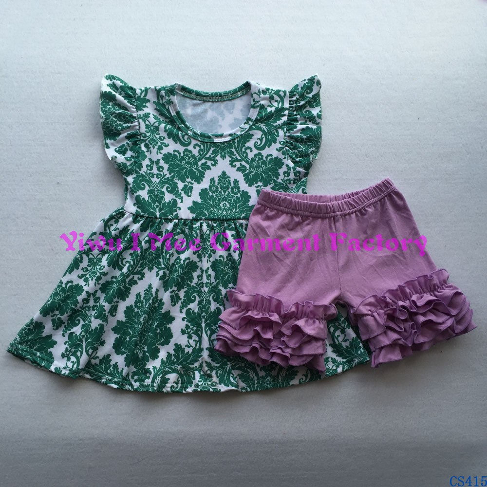 Wholesale Children Boutique Clothing Sets Summer Persnickety Remakes Girls Ruffled Shorts Outfits CS415