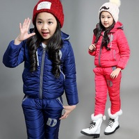 Vestidos Children Set Boys Girls Clothing Sets Winter Hooded Down Jacket + Trousers Waterproof Snow Warm kids Clothes Suit
