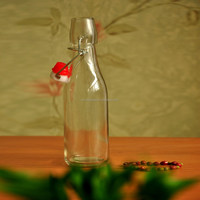 500m red glass wine bottle, seasoning glass jar house use