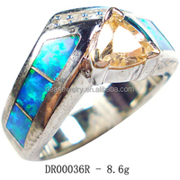Trendy Blue Stone Opal Jewelry 925 Sterling Silver Rings With Yellow Topaz