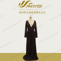 Sexy open breast backless long sleeve deep V-neck shiny sequin long evening dress