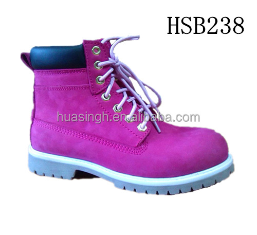 fashion pink color women favored working safety boots with high quality nubuck leather