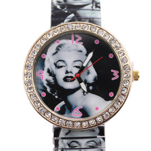 2015 high-end South Korea's foreign trade fashion Marilyn Monroe elastic sheet deflation strip dial set with diamonds GENEVA