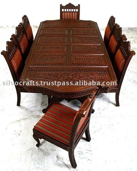 wood hand carved dining room set restaurant furniture dining table