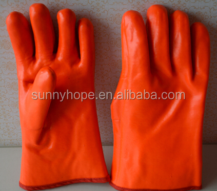 sunnyhope winter Fluorescent pvc oil resistant gloves,freezer gloves