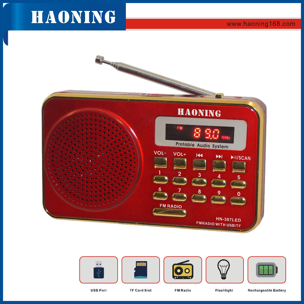 FM DIGITAL USB TF PORTABLE RADIO WITH FLASHLIGHT