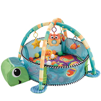 Top selling indoor fashion cute soft game 30 balls tortoise baby play mat with sides
