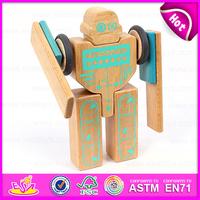3D Construction set small flexible magic wooden robot,Educational Toy Wooden Robot Kit for children W03B046