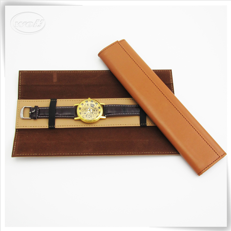 OEM PU leather handmade leather wrist watch travel case