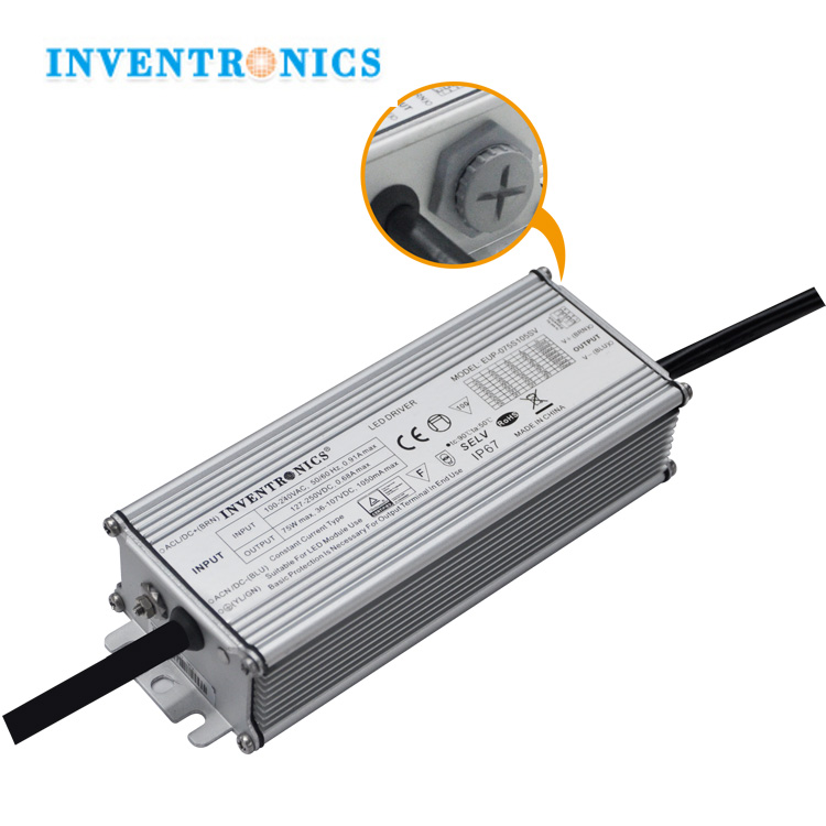 EUP-075S105SV Inventronics 50W 60W 70W 75Wat India BIS 700mA 1000mA 1050mA DMX Dip-switch Adjustable Constant Current LED Driver