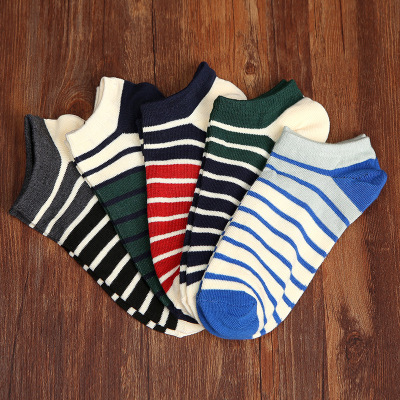 Fashion Mens Cotton Socks man Crew Low Cut Striped Casual ankle Socks