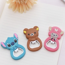 Cute Cartoon silicone soft can opener pvc 3D embossed rubber beer bottle opener