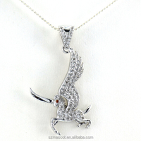 Newest Brass Metal Rhodium Plated Crystal Horse Pendant