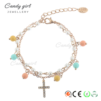 L1453 Candygirl brand custom fashion women chain Christian pendant crystal bracelet accessories bead bracelet
