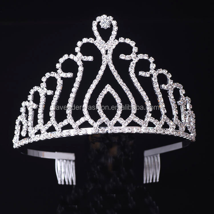Yiwu Supplier Cheap Large Tall Miss Beauty Pageant Tiara Crown