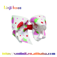 2016 Funcy fruit patten printed Grosgrain Ribbon Baby Girls hair bows wholesale