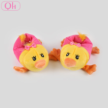 Cheap soft warm animal shaped plush chicken bird slippers for children