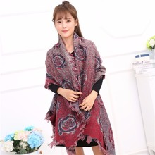 latest style cotton checked floral printed ladies wool scarf