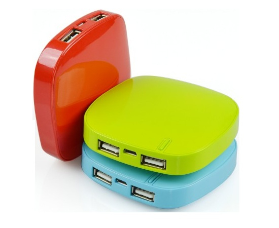 Stylish high quality plastic square with dual ports power bank