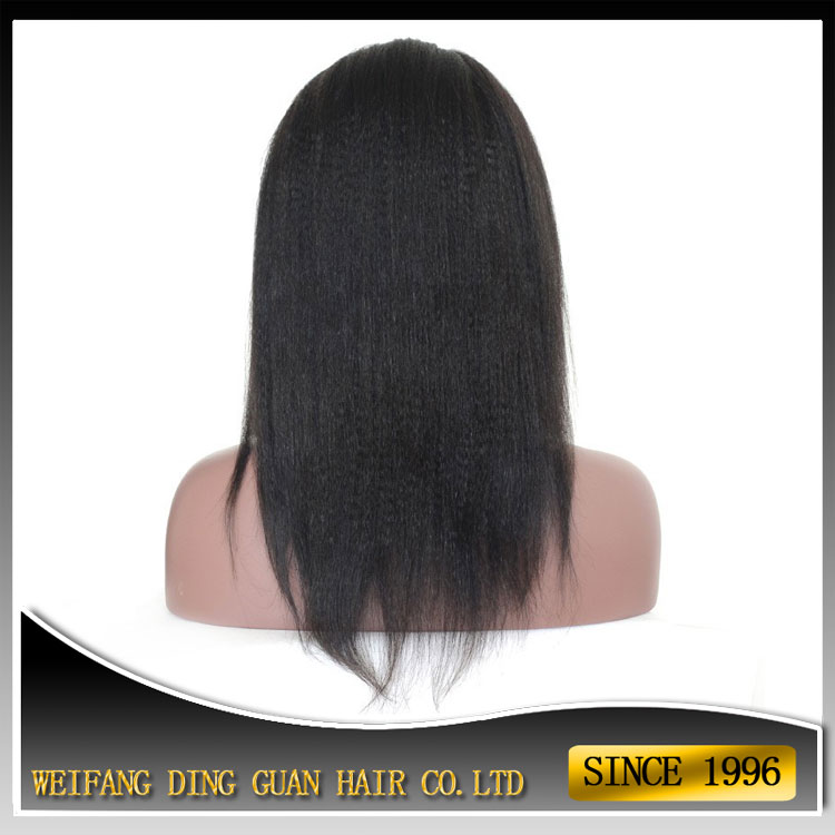 120% Density 16 Inch #1B Natural Looking Italian Yaki Lace Front Wig Best Brazillian Remy Human Hair Wigs For African Americans
