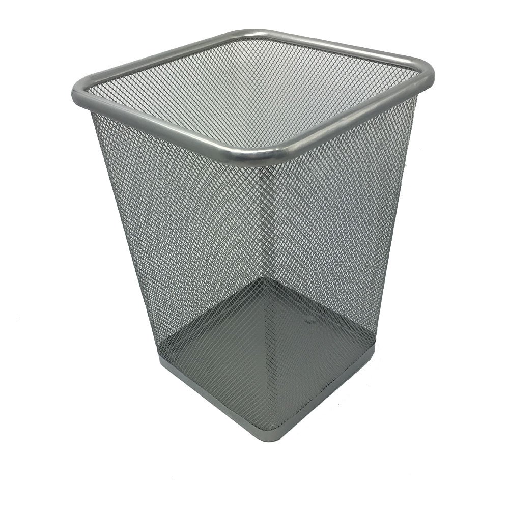 Recycle Metal Mesh Trash Can Metal Paper Garbage Basket Wastebasket Square Opening Rubbish Bin Waste Bin -Black Grey