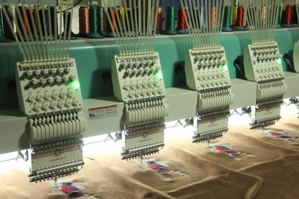 Industrial high speed 12 head cap and t-shirt flat embroidery machines similar with tajima embroidery machine