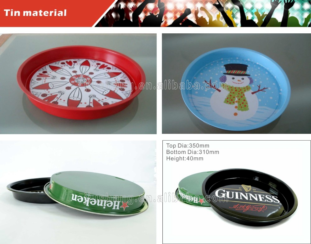 Custom dark grey round anti-slip coating beer tin metal bar serving tray