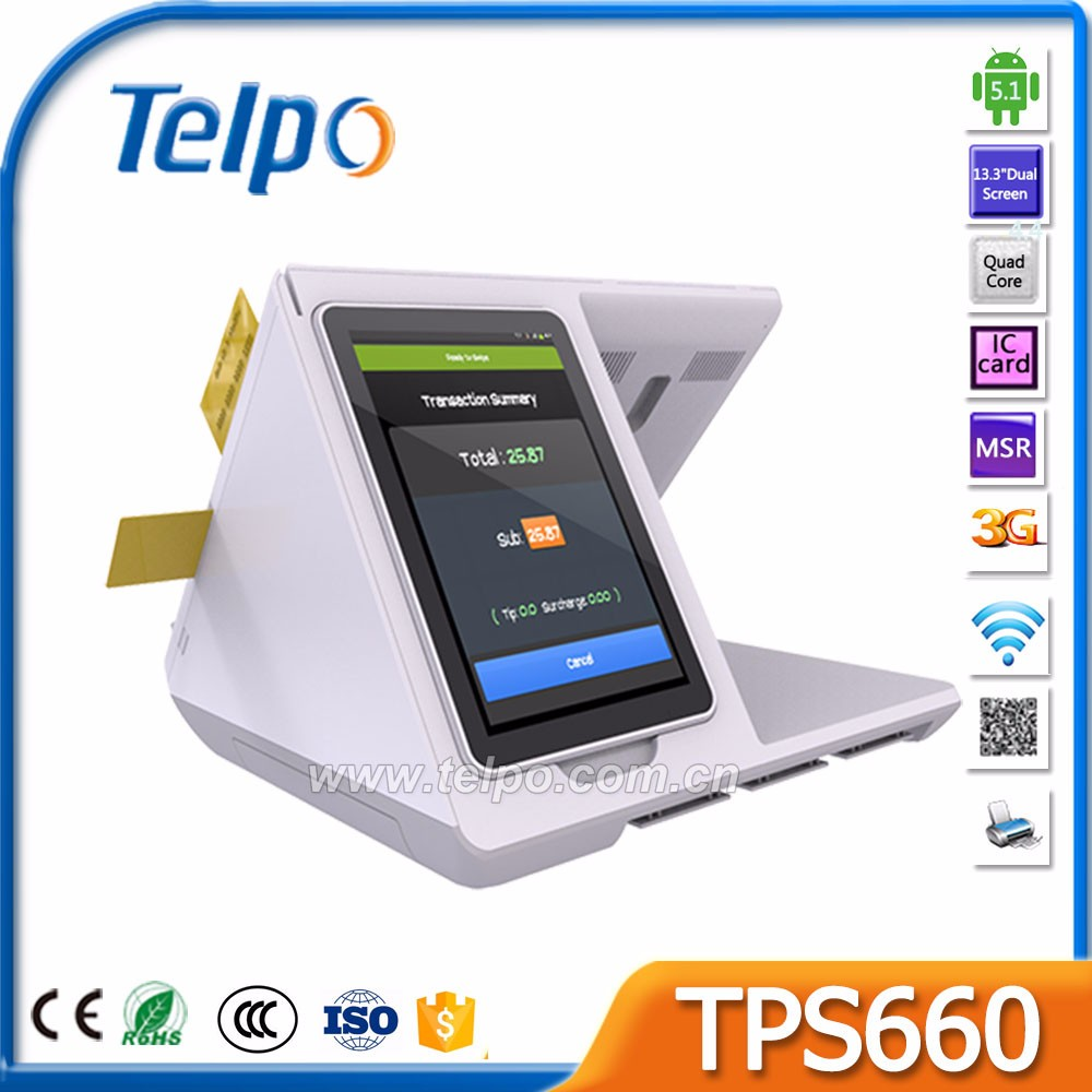 Telpo TPS660 All-in-One Android touch supermarket cashier equipment with printer Barcode scanner MSR Smart card reader