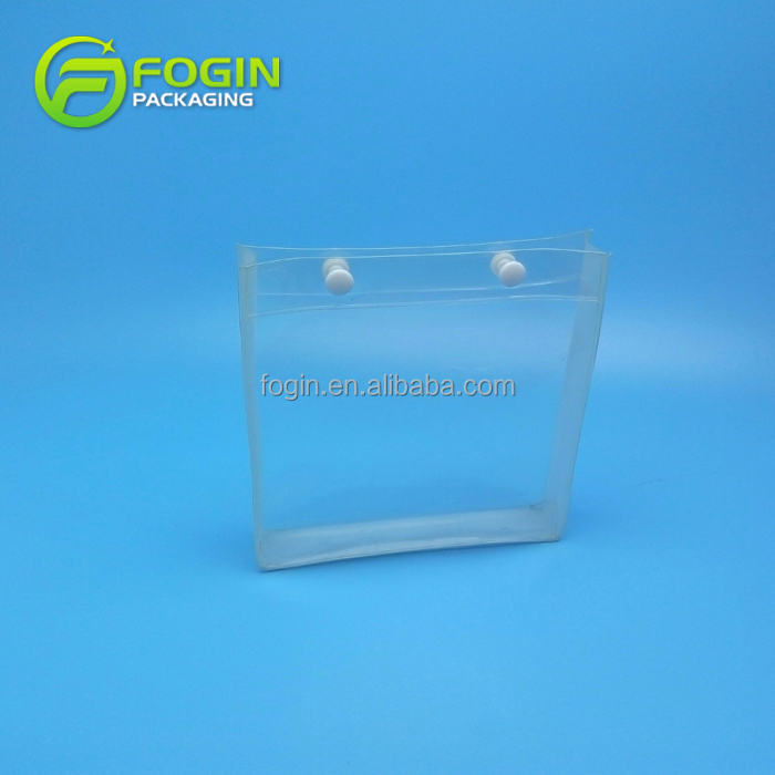 Custom printed pvc clear pouch travel plastic cosmetic bags with snap buttons