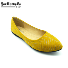 Wholesale New Design Yellow Leather Female Flat Shoes In China