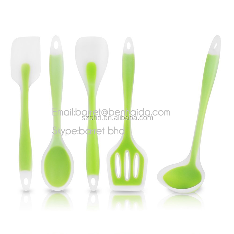 5 pieces premium silicone kitchen utensil coated nylon for Colorful kitchen tools