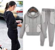 The new show thin fashion hooded sports leisure accept waist lady's fleece suits