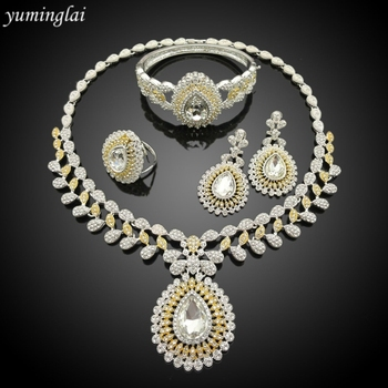 Elegant Party Jewelry Sets Crystal Zircon Jewelry Set 24k silver dubai plated jewelry set